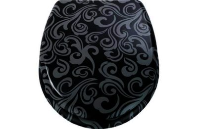 Damask Toilet Seat Black And Grey PriceHit