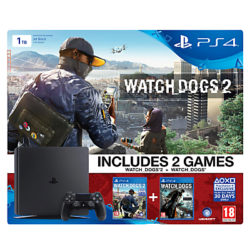 New Sony PlayStation 4 Slim Console, 1TB, with Watch Dogs 2 + Watch Dogs Games